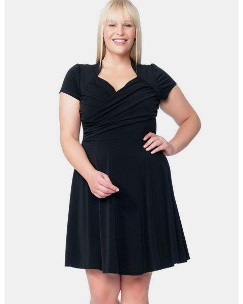 Sweetheart Dress in Black Crepe