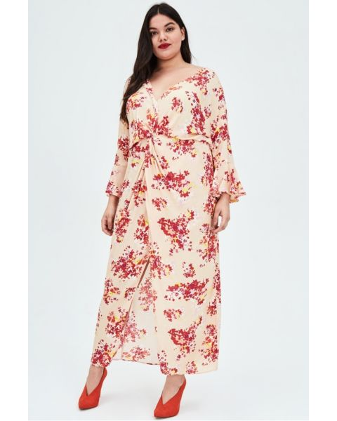 STASIS Wrap Maxi Dress With Scattered Floral Print