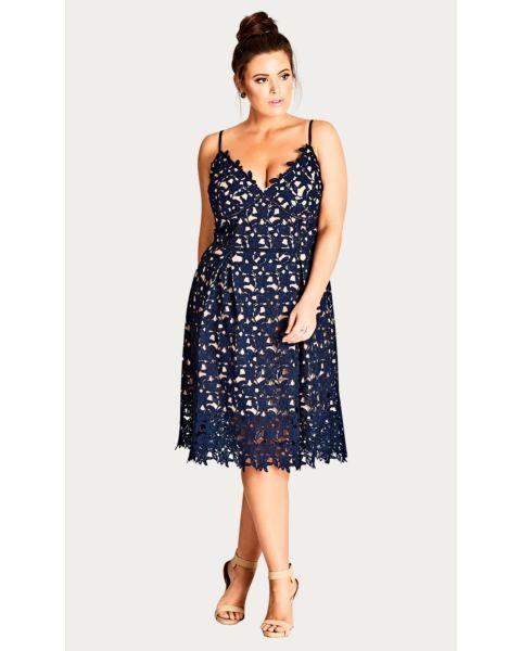 Navy So Fancy Crochet Fit & Flare Dress